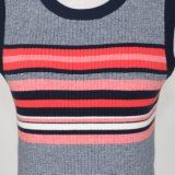 Lady's Colorful Striped Fashion Sweater com mangas
