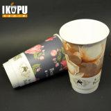 Copo de papel quente personalizado descartável com tampa