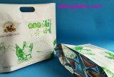Unterer flacher Fastfood- Plastikaluminiumreißverschluss-Essen-Beutel