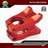 Piezas que muelen de anodización rojas del CNC de la bicicleta del vástago de las piezas de aluminio de encargo del CNC