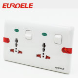 Muti-Function White Color ABS 2 Gang Switched Socket