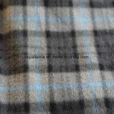 Tissu polaire d'ouatine avec le balai de 2 côtés dans le modèle gris de vérifications