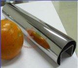 Vidrio con el tubo ranurado redondo Polished del acero inoxidable del espejo