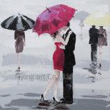 Modern Olieverfschilderij voor Minnaar onder Paraplu