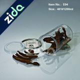 Tarro plástico del caramelo del cilindro del claro de la categoría alimenticia de animal doméstico con la tapa de aluminio