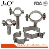 Suporte de tubo de hexágono sanitário de aço inoxidável sem base