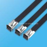 el PVC del acero inoxidable 304 cubrió la atadura de cables del Uno mismo-Bloqueo para Qucikly instalada