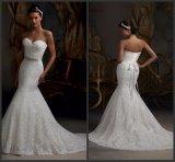 Vestido de casamento nupcial plissado sereia Bm32 do laço dos vestidos nupciais do querido