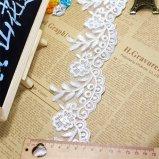 Breiten-Stickerei-umwickelnde Nettospitze-Polyester-Stickerei-Zutat-Fantasie-Blumennylonspitze des Fabrik-auf lager Großverkauf-8cm für Kleid-Zusatzgerät u. Brauthochzeits-Kleid