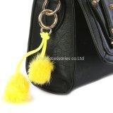 卸し売りのどの毛皮POM POM袋のアクセサリの黄色い二重球のKeychainの宝石類のギフト