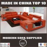 コーヒーテーブルが付いている本革の居間のソファー