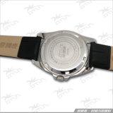 Correa de cuero cristalina exquisita, reloj luminoso del acero inoxidable