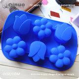 Bandeja Shaped do queque da borracha de silicone do produto comestível da flor azul