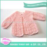 Camisola cor-de-rosa Hand Knitted de lã personalizada do inverno da menina