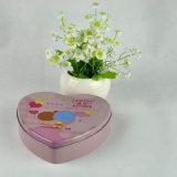 Stagno su ordinazione del cioccolato di figura del cuore, contenitore impaccante di stagno del regalo della caramella del biglietto di S. Valentino con figura del cuore
