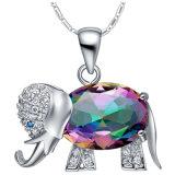 Juwelen van de Halsband van de Nauwsluitende halsketting van de Oorring van de Ring van Zircon van het Kristal van de Olifant van het Koper van de manier 3PCS de Vastgestelde Kleurrijke