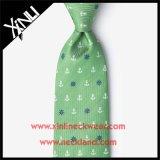 Lazos Mint de encargo tejidos seda del verde del Mens el 100% de la escritura de la etiqueta privada con insignia