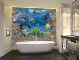 아름다운 3D 예술 배경 벽에 의하여 윤이 나는 도와 (VPA6A102)