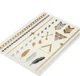 Etiqueta engomada temporal impermeable metálica del tatuaje de la pluma de plata del oro