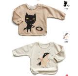 T-shirt organique de bébé de coton d'impression de chat de crabot avec la couleur de nature