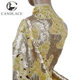 Beige e merletto africano del Organza di Handcut dell'oro
