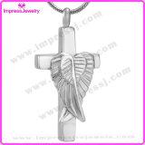 Flügel Ijd9734 auf quere christliche Edelstahl-Verbrennung-hängende Halsketten-Erinnerungscharme verascht Andenken-Schmucksachen
