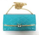 زرقاء مضيئة [بو] جلد محفظة مع فراشة معدنة إطار تصميم