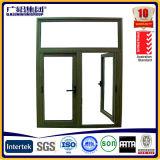 Puerta corredera de madera de grano 3D con vidrio de decoración
