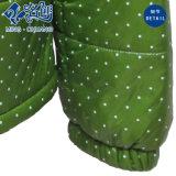蛍光緑立てカラー長袖のジッパーポケット方法女性コート
