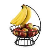 바나나 걸이를 가진 까만 단철 식물성 과일 바구니 부엌 선반