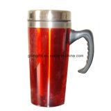 Taza de cerveza de 300 ml de acero inoxidable de doble pared con tapa de plástico PP, New Look manija, Líneas en la taza