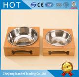 Tazón de fuente de bambú de encargo del perro con los tazones de fuente del acero inoxidable
