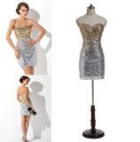 Платье выпускного вечера Sequin Колен-Длины сексуальной колонки без бретелек с кристаллом