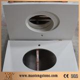Parti superiori di vanità della stanza da bagno della stanza da bagno di figura piegate ritaglio ovale bianco puro del dispersore del quarzo singolo