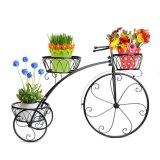 Banco di mostra della piantatrice del metallo bianco della fila del triciclo 3 di stile della decorazione della bicicletta della casa del giardino della decorazione del ferro della pianta dell'annata domestica del basamento/supporto POT del fiore/cremagliera parigini della pianta