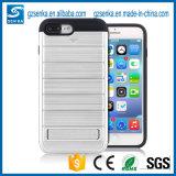 Caja a prueba de choques del teléfono del rectángulo de oro accesorio móvil con el soporte para el iPhone 7/7 más