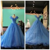 Robe bleue de princesse soirée de boule d'organza (EDQH001)