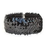 Wijd Zwarte haakt Met de hand gemaakt Halsband van de Nauwsluitende halsketting van de Rek van Lovertjes de Elastische