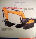 A máquina da máquina escavadora da construção pesada parte o cilindro do braço
