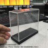 Boîte de présentation acrylique claire de qualité avec la base