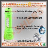 Lampada di scrittorio ricaricabile della torcia elettrica 8PCS SMD LED di 1W LED
