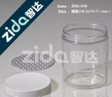 Frasco quadrado transparente plástico de empacotamento dos doces do animal de estimação do frasco plástico com tampão desobstruído