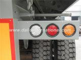 Uのダンプカーのバケツが付いているトレーラー(ダンプカーのトレーラー)を半ダンプしている3つの車軸灰色の後部自己