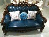 Sofá do couro do estilo de América, sofá antigo do couro da cera, sofá do modelo novo da alta qualidade (B018)