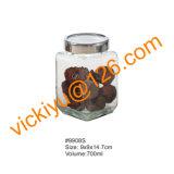 vaso di memoria dell'alimento di alta qualità 4L, vaso di vetro rotondo di memoria con la protezione di plastica rossa