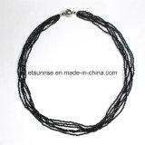 Juwelen van de Halsband van de Halfedelsteen van de manier de Zwarte Spinel Gefacetteerde Geparelde