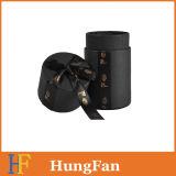 Rectángulo de regalo cosmético del rectángulo de papel de embalaje del rectángulo del perfume del negro redondo del tubo