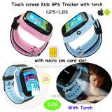 2017 neue heiße verkaufenkinder GPS-Verfolger-Uhr mit Fackel (D26)
