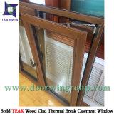 Guichet d'ouverture vers l'intérieur en aluminium d'inclinaison et de spire avec le revêtement en bois de teck/chêne, guichet normal américain de tissu pour rideaux