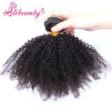 Tissage crépu de cheveu bouclé d'Afro non transformé humain bon marché de la vente en gros 100%